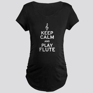 Keep Calm and Play Flute Maternity Dark T-Shirt
